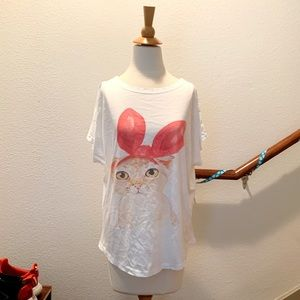 Cat with Bunny Ears Print Tee
